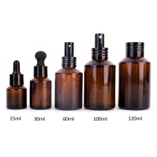 Hot Sell 120ml 4oz amber essential oil dropper perfume bottle with pump sprayer
