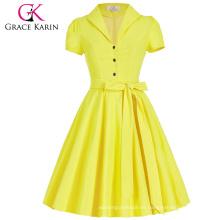 Grace Karin Lapel Collar Nylon-algodón de manga corta para mujer vestido de verano de los años 50 Vintage retro vestidos CL008946-3