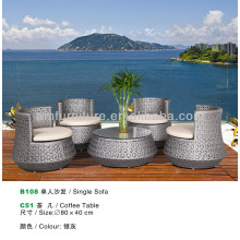 rattan SILVER GREY coffee table and sofa