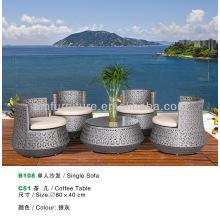 rattan SILVER GREY coffee table and sofa