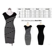 Fashion Stripes High Waist OL Work Slim Clothing