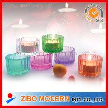 Porte-bougie en verre coloré