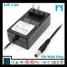 dc24v 1.5a wall plug in led strip adapter 36W CE SAA GS UL CUL