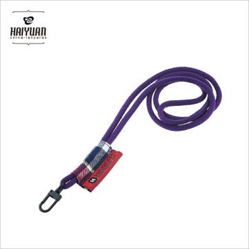 Poliéster redondo de PP Poliéster tubular con logotipo tejido Gancho giratorio de plástico