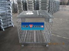 Wuhao collapsible wire container can on the rack, white / golden zinc plating, paint, powder coating /HDG metal mesh cage 1000kg
