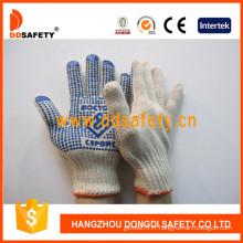 Gants en coton avec des points de PVC bleu un côté (DKP156)