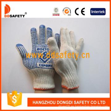 Guantes de algodón con puntos azules de PVC en un lado (DKP156)