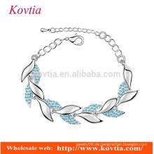 Frauen Zubehör für Schmuck Armbänder blau Kristall Kette Link Armbänder weißes Blatt Blatt geformt Armband
