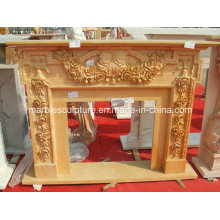 Hand Carved Luxury Marble Fireplace Surround Flowers (SY-MF137)