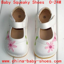 White Pink Daisy Flower Baby Toddler Girl Shoes Velcro Squeaky Shoes