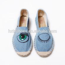 Fashion eye shoe denim canvas shoe espadrille shoe women