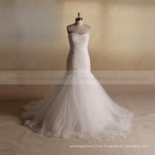 Terse Corazón Forma De La Capilla De La Sirena exquisita plisada vestido de boda Fabricante