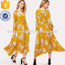 Flor impressão cordão botão cintura vestido frontal manufatura atacado moda feminina vestuário (t3159d)