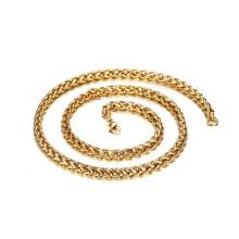 Chaîne de collier torsadée remplie d'or 24K en gros de matériel d'acier inoxydable vendent par le mètre, collier de ras du cou d'or