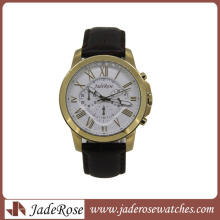 Promotion and Fashion Wristwatch with Genuine Leather Strap