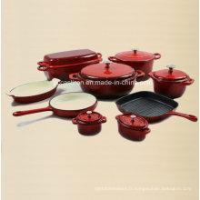 Ensemble de cuisinière en fonte d'émail en céramique 9PCS Fourni depuis la Chine