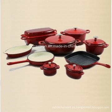 9PCS fabricante de utensilios de cocina de hierro fundido del esmalte de China