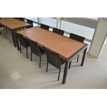 Wooden top aluminum frame rattan dining table chair set.