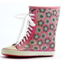 Rubber Boots With Flowers Printing For Girls