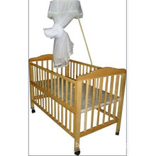 Safety Standard Wooden Sleigh Baby Cot Crib Bed With Mosquito Net
