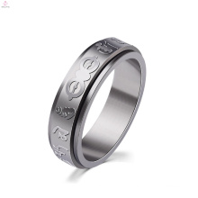Stainless Steel Silver Custom Engraved Mantra Ring