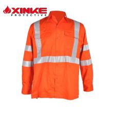 Chemise de travail de sécurité ignifuge coton respirant orange à manches longues personnalisé