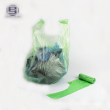HDPE t-shirt trash garbage tie handle bag on roll