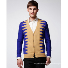 ODM Fashion Clothing V-Neck Irregular Stripe Man Cardigan