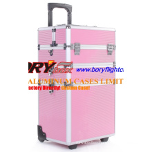 Personalized Pink 3 Layers Professional Beauty Box Trolley