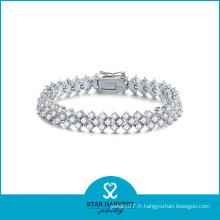 2016 dernière mode argent Micro Pave Bracelet (B-0007)