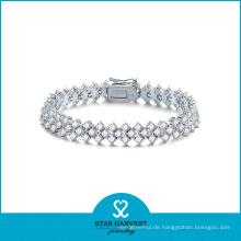 Fancy Rhodium überzog Silber CZ Schmuck Armband (SH-B0007)