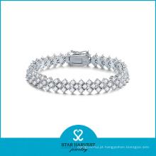 2016 mais recente moda prata micro pave pulseira (b-0007)