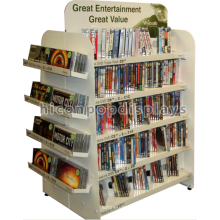 Estante independiente del libro de 4 vías de encargo Estante blanco comercial del cómic de la tienda de cómics del blanco