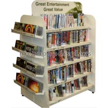 Пользовательские Отдельностоящий 4-Путь Книги В Розницу Стоят Коммерческих Белого Металла Комиксов Магазин Дисплей Полки