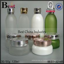 Frascos y botellas de cristal cosméticos 120ml, botellas de empaquetado vacías, botella cosmética del cuidado de la piel 40ml