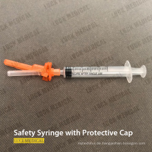 Medizinische Einweg-Sicherheitsspritze mit Schutzkappe