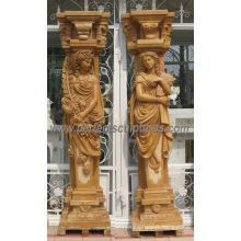 Colonne de colonne romaine décorative avec granit de marbre en grès de pierre (QCM127AB)