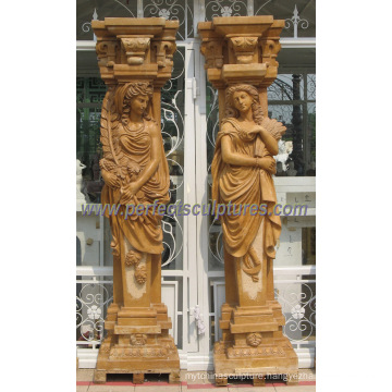 Decorative Roman Column Pillar with Stone Marble Sandstone Granite (QCM127AB)