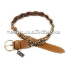 Стразы Плетеный кожаный пояс для женщины широкий кожаный пояс