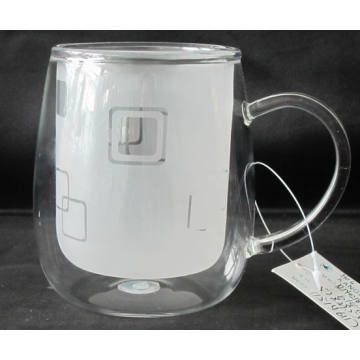 Double Wall Glass Cup with Ear (Inner Layer Frosting