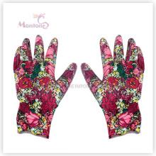 13Г ладони Нитрил окунул женщина, работающая сада полиэфира, перчатки безопасности