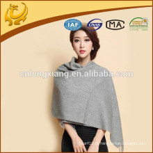 2015 New Fashion Design Wide Gray Cor sólida Atacado Cashmere Pashmina Scarf With Fringe