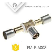 ЭМ-Ф-A008 хромированный Разъем Обжатия латунный Тройник равного штуцера трубы