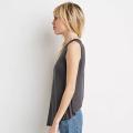Sem mangas em torno do pescoço feminino cor pura camisas casuais