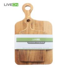 2pcs conjunto de placa de corte de madeira sólida