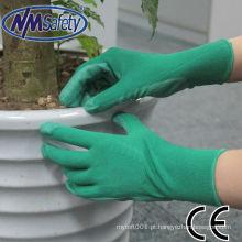 Luva do poliéster de NMSAFETY 13g para trabalhar com nitrilo revestido / luvas do nitrilo nitrilo verde e verde