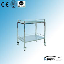 2 Shelves Stainless Steel Hospital Medical Instrument Trolley (Q-5)