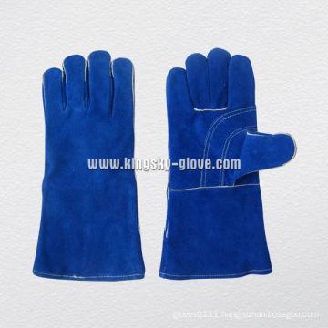 Blue Cow Split Leather Reinforcement Palm Welding Work Glove-6511