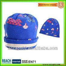 El azul de encargo de la calidad dobla encima de los sombreros de la gorrita tejida al por mayor