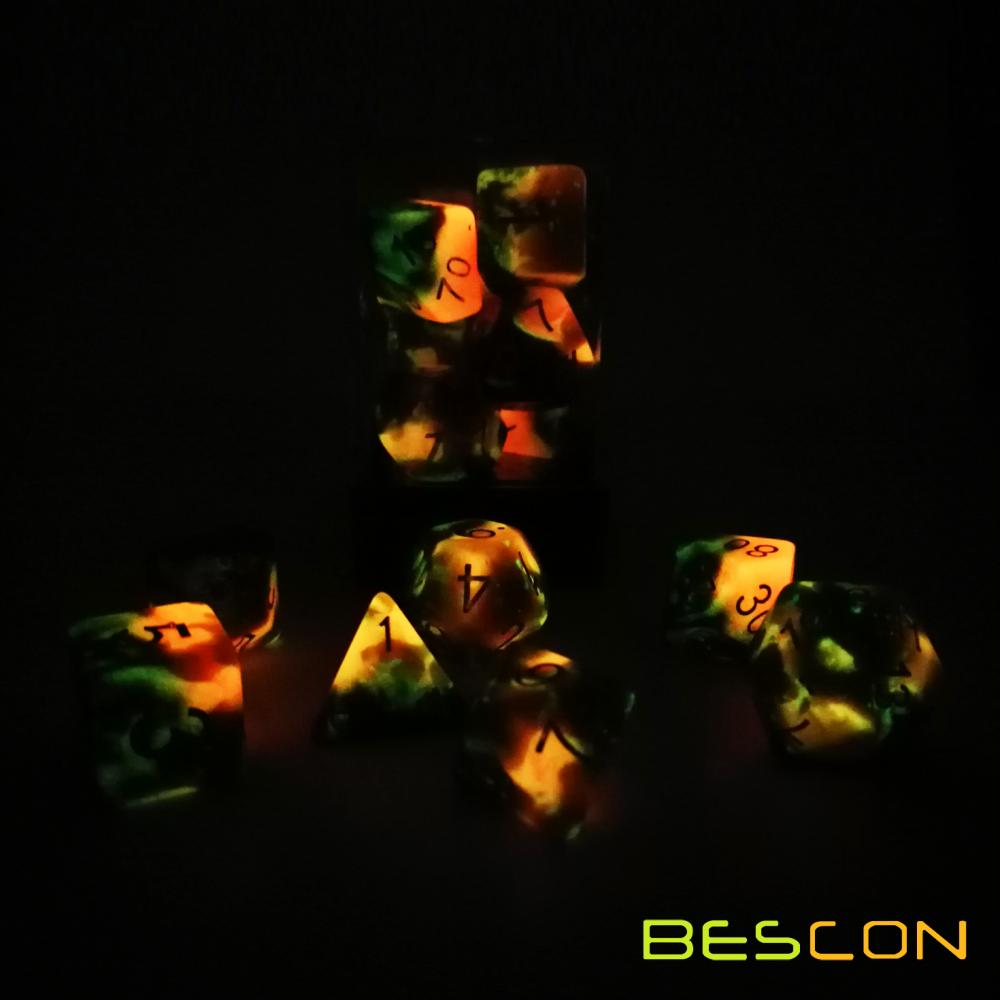 Bescon Two-Tone Glow-in-the-Dark Polyhedral Dice Set HOT ROCKS, Luminous RPG Dice Set d4 d6 d8 d10 d12 d20 d% Brick Box Pack
